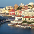 Aerial view of city Agios Nikolaos before sunset, Crete — Stock Video #13367360