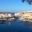 Aerial view of city Agios Nikolaos before sunset, Crete — Stock Video #13367371