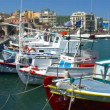 Boats in harbor near Venetian Fortress Koules, Heraklion, Crete — Stock Video