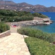 Terraced beach and mediterranean sea, Agios Nikolaos, Crete — Stock Video