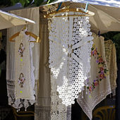 Lace table cloth in the souvenir shop — Stock Photo