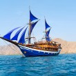 Vintage Wooden Ship with Blue Sails — Stock Photo #13737448