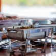 Barbecue Food on Table of Safari Yacht - Stock Photo
