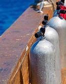 Compressed Air Tanks on Scuba Diving Boat — Stock Photo