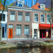 Vintage Houses on Canals, Delft - Stock Photo