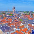 Aerial View of Old City, Delft, Holland - Stock Photo