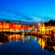 Prins Hendrikkade at Night, Amsterdam — Stock Photo