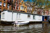 Casas vintage em canais, amsterdam — Foto Stock