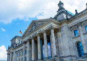 Reichstag Building and German Flag, Berlin — Stock Photo