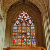 Vitray st. gudula cathedral, brüksel in — Stok fotoğraf