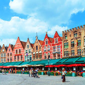 Vintage Homes on Market Square, Bruges — Stock Photo