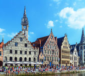 Graslei - Riverside of Ghent, Belgium — Stock Photo