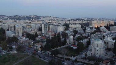 Coucher du soleil au laps de temps de nuit - vue aérienne, Jérusalem, Israël — Vidéo