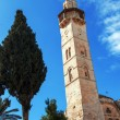 Mosque of Omar Minaret Vertical Panorama, Jerusalem - Stock Photo