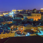 Panorama - Old City at Night, Jerusalem — Stock Photo