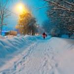 Night Winter City Scene — Stock Photo
