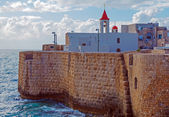 Sea Wall and Port of Acre — Stock Photo