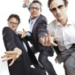 Stock Photo: Crazy businessmen dancing