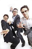 Empresarios locos bailando — Foto de Stock
