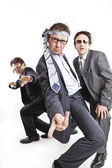 Crazy businessmen dancing — Stockfoto