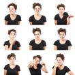 Teen girl emotional attractive set make faces isolated on white background — Stockfoto