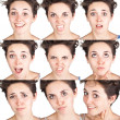 Stock Photo: Teen girl emotional attractive set make faces isolated on white background