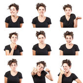 Teen girl emotional attractive set make faces isolated on white background — Stock Photo