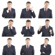 Stock Photo: Businessmface expressions composite isolated on white background