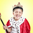 Little funny boy dressed as a king — Foto de Stock