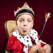 Little boy dressed ad a king on red velvet background - Stock Photo