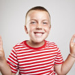 Foto Stock: Portrait of happy cute little boy laughing