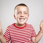 快乐可爱的小男孩,笑的肖像 — 图库照片