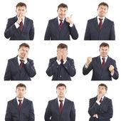 Composito di espressioni viso uomo d'affari isolato su sfondo bianco — Foto Stock