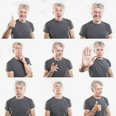 Mature man face expressions composite isolated on white background — Stok fotoğraf