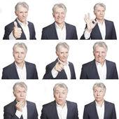 Beyaz arka plan üzerinde izole olgun erkek yüz ifadeleri kompozit — Stok fotoğraf