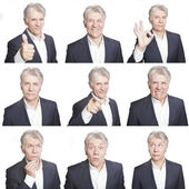 Mature man face expressions composite isolated on white background — Stock Photo