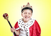 Little funny boy dressed as a king — Stock Photo