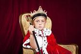 Niño vestido anuncio un rey sobre fondo de terciopelo rojo — Foto de Stock