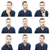 σύνθετο εκφράσεις προσώπου νεαρός άνδρας που απομονώνονται σε λευκό φόντο — Φωτογραφία Αρχείου