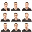 Stock Photo: Young mface expressions composite on white background