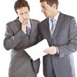 Two businessmen looking at documents — Stock Photo
