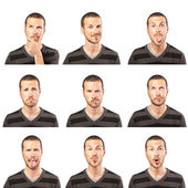 Young man face expressions composite on white background — Stok fotoğraf