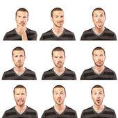 Složené výrazy tváří mladý muž na bílém pozadí — Stock fotografie