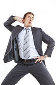 Crazy businessman dancing — Stock Photo