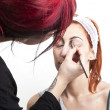 Make up artist backstage — Stock Photo