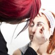 Make up artist backstage - Stock Photo