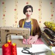 Vintage tailor dressmaker, old fashion style - Stock Photo