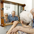 Stock Photo: Elderly couple washing teeth