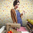 Vintage tailor dressmaker, old fashion style — Stock Photo #13764188