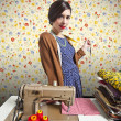 Stock Photo: Vintage tailor dressmaker, old fashion style